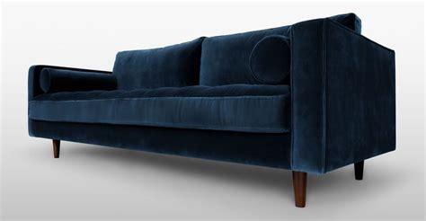 Blue Velvet Mid-century Modern Sofa-upholstered