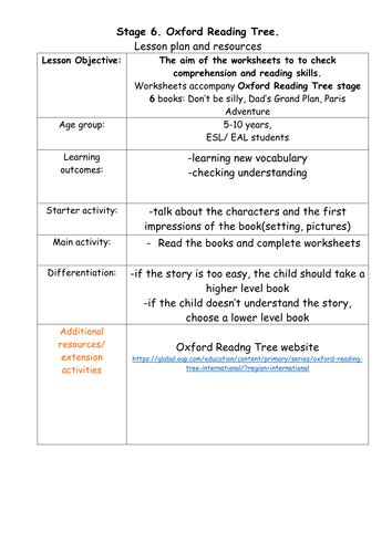 stage 6 oxford reading tree comprehension worksheets by kuknunn teaching resources tes