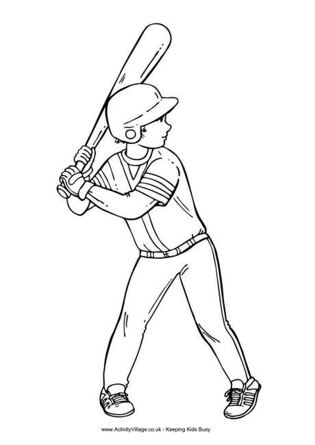 baseball boy colouring page