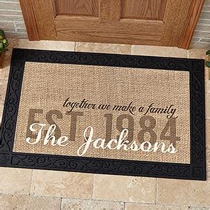 personalized family doormats personalized burlap family doormat with tray together we