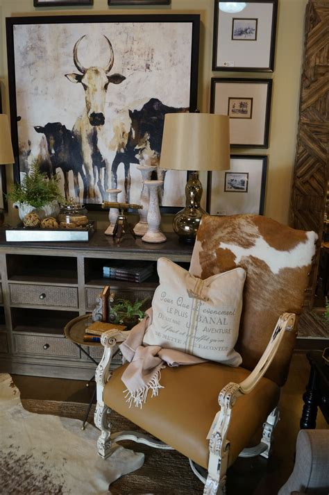 Cowhide Home Decor by Cowhide And Leather Chair Rustic Luxe Inspired Vignette