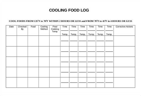 cooling food log templates template   ryans
