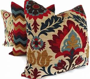 Blue and red floral medallion decorative pillow cover square for Blue and red pillows