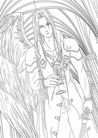 Coloring Fantasy Sephiroth Final Pages Lineart Printable