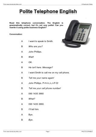 efl esl telephone worksheets activities and
