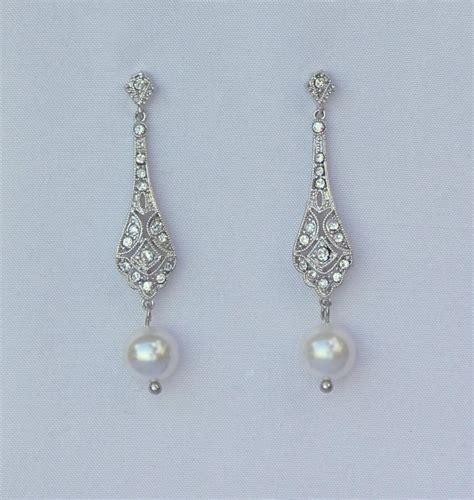 deco pearl earrings deco pearl drop earrings bridal earrings gold or silver vintage dangle earrings vintage