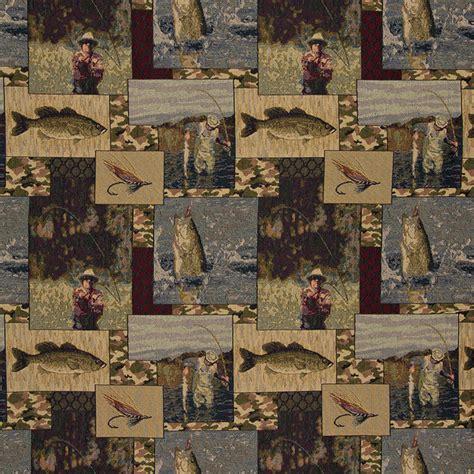 fishermen lures fly fishing themed tapestry upholstery