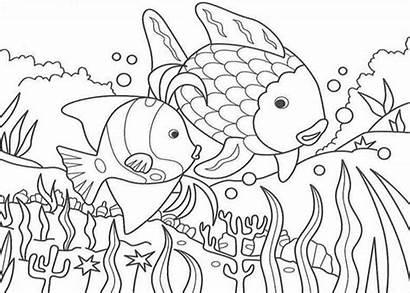Nature Coloring Pages Lake Fish Printable Sea