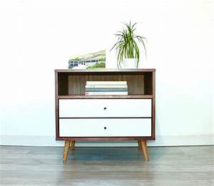 Mid Century Bedside Table with Two Drawers