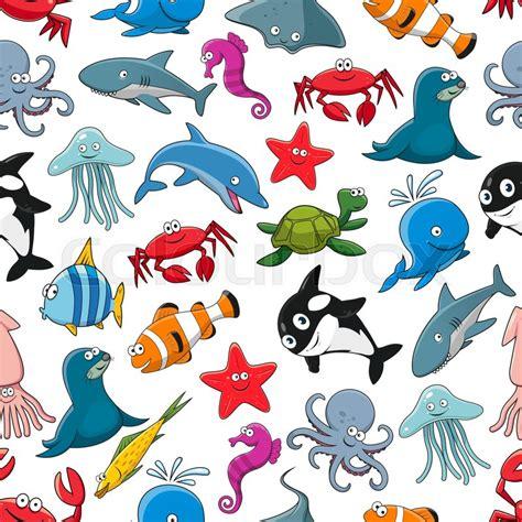 cartoon pattern  sea fish  ocean animals starfish