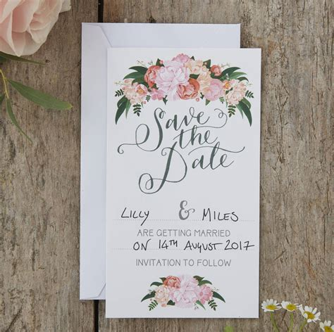 boho floral save  date wedding cards  ginger ray