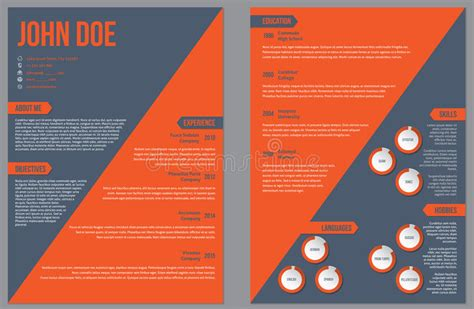They are ready to use. Two Sided Resume Cv Template With Large Orange Stripe ...