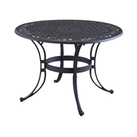 48 inch black metal outdoor patio dining table with