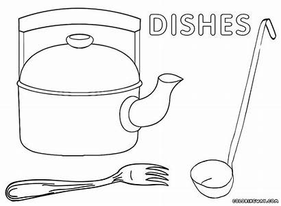 Coloring Dishes Pages Soup Coloringway