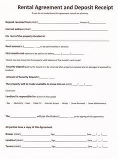 printable sample room rental agreement template form