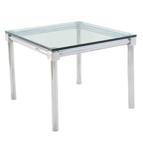 thick glass table top chrome and thick glass top square game table for sale at