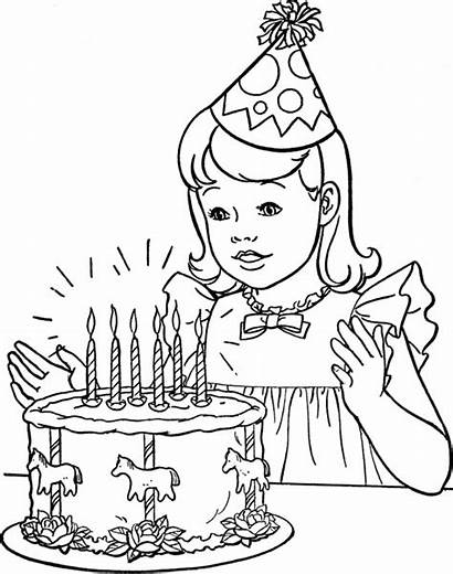 Coloring Birthday Happy Pages Printable Party Drawings