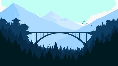 bridge  forest minimalist  hd artist  wallpapers