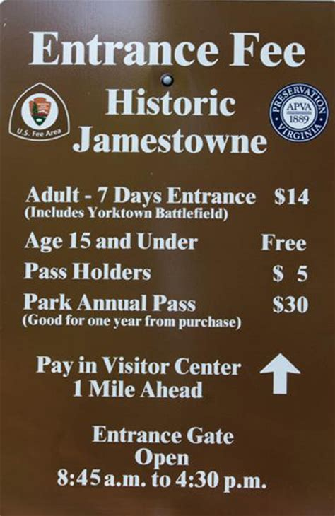 fees passes historic jamestowne part  colonial