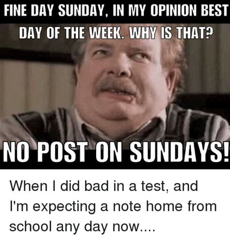 Top Memes Of The Week - fine day sunday in my opinion best day of the week why is that no post on sundays bad meme on
