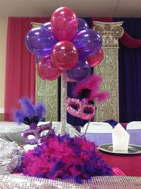mask table decorations quinceaneras centerpieces balloon centerpiece with masks