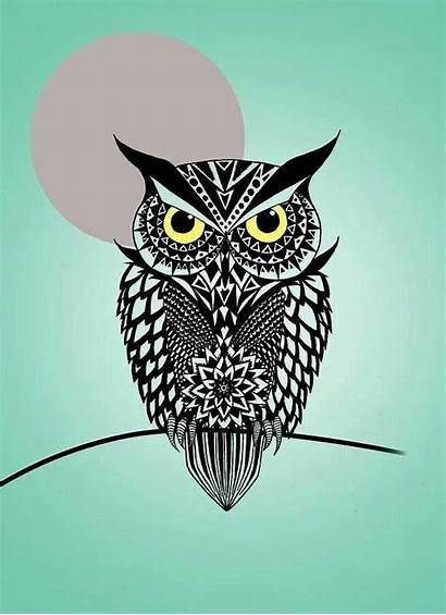 Owl Digital Ashkenazi Mark Geometric Tattoo Drawings