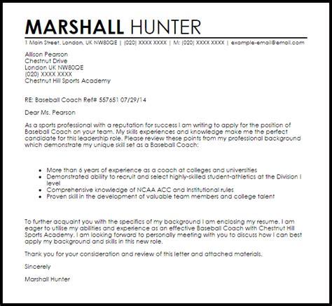 Baseball Resume For College by Baseball Coach Cover Letter Sle Livecareer