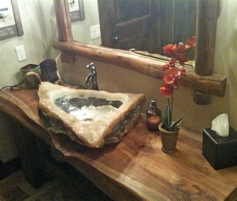 quartz marble vessel sink  reclaimed monkeypod wood