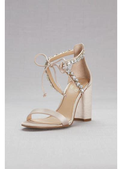 crystal embellished ankle tie block heel sandals davids