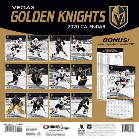 nhl vegas golden knights mini wall calendar