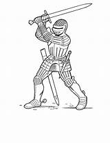 Medieval Soldier Drawing Coloring Knight Pages Getdrawings sketch template