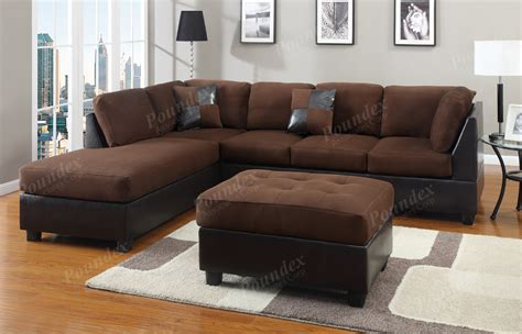 Chocolate Sectional Couch 3pc Set Microfiber Sofa