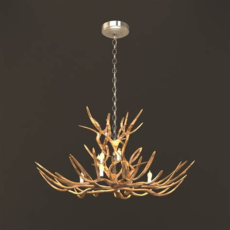 tree branch chandelier rustic tree branch chandeliers 3d model 3ds max files free