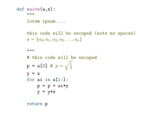 minted doesn t escape latex code inside python docstring