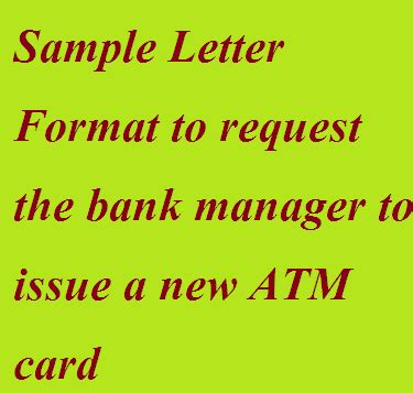 sample letter format  request  bank manager  issue