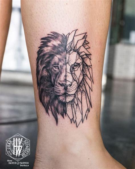 tatouage tete de lion dos