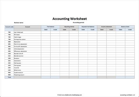 a simple accounting spreadsheet template