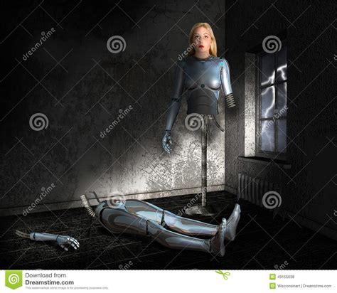 android machine cyborg anroid robot machine stock photo image