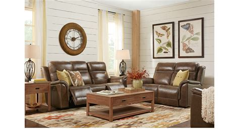 $,.-barcaccia Brown Leather Pc Living Room With