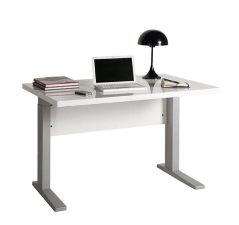 bureau basika bureau manager sta blanc brillant l 120 x h 70 x p 80