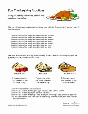 thanksgiving activity sheets for 4th grade thanksgiving fractions worksheet education