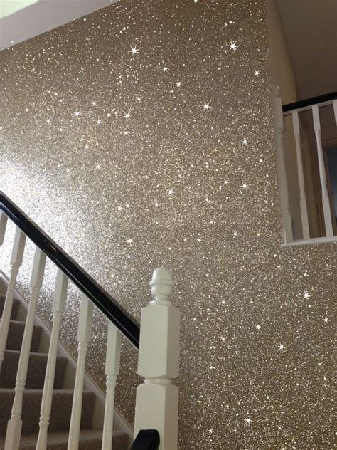 sand color glitter wallcovering  stairway sparkling