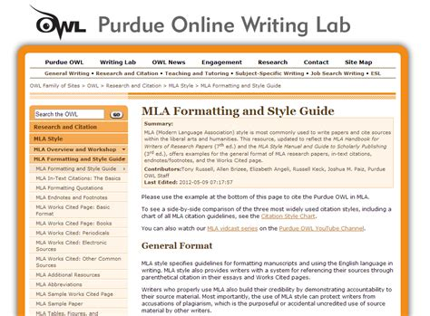 mla formatting  style guide  owl  perdue