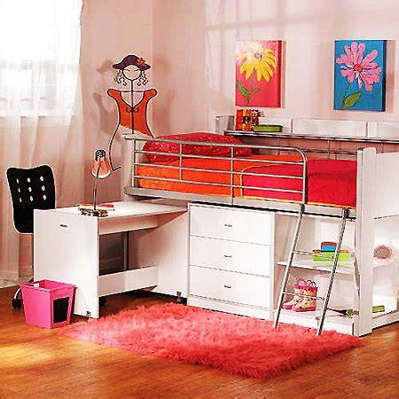 walmart loft bed with desk charleston storage loft bed with desk white walmart