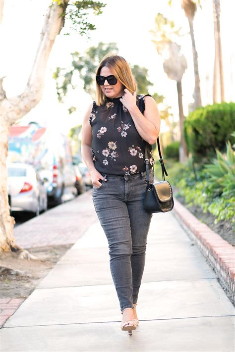 Ruffle Collar Shell and Faded Black Jeans - Barefoot in LA