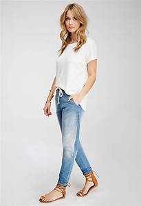 Forever 21 Contemporary Stretch Denim Joggers in Blue | Lyst