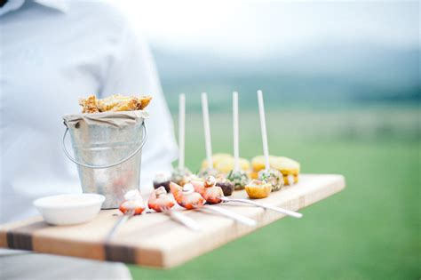 Elegant Farmhouse Appetizers At Wedding Reception