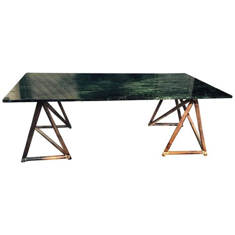 large green table l large green marble mcguire dining table or desk with