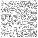 Tub Vector Illustrations Clip Aquapark Doodle Drawn Objects Elements Coloring Entertainment Illustration sketch template