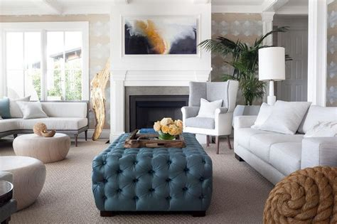 blue tufted ottoman coffee table two tone wingback chair with blue tufted ottoman as coffee